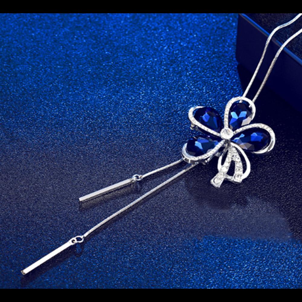 梨花HaNA 藍色月之海水晶皓鑽長項鍊