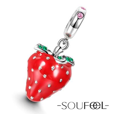 SOUFEEL索菲爾 925純銀珠飾 草莓 吊飾