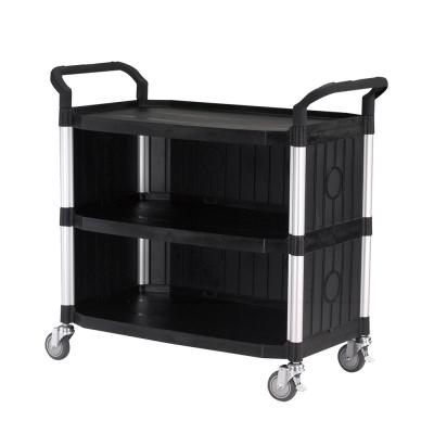 100%台灣製 大台面多功能三層圍邊工具餐車/手推車/置物架-經典黑