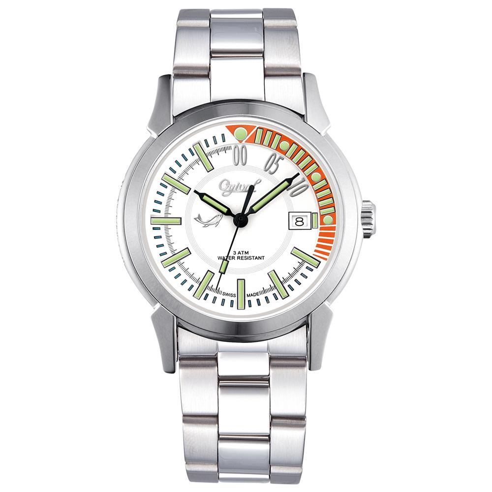 Ogival 瑞士愛其華 夜鷹系列造型氚氣腕錶-白/38mm