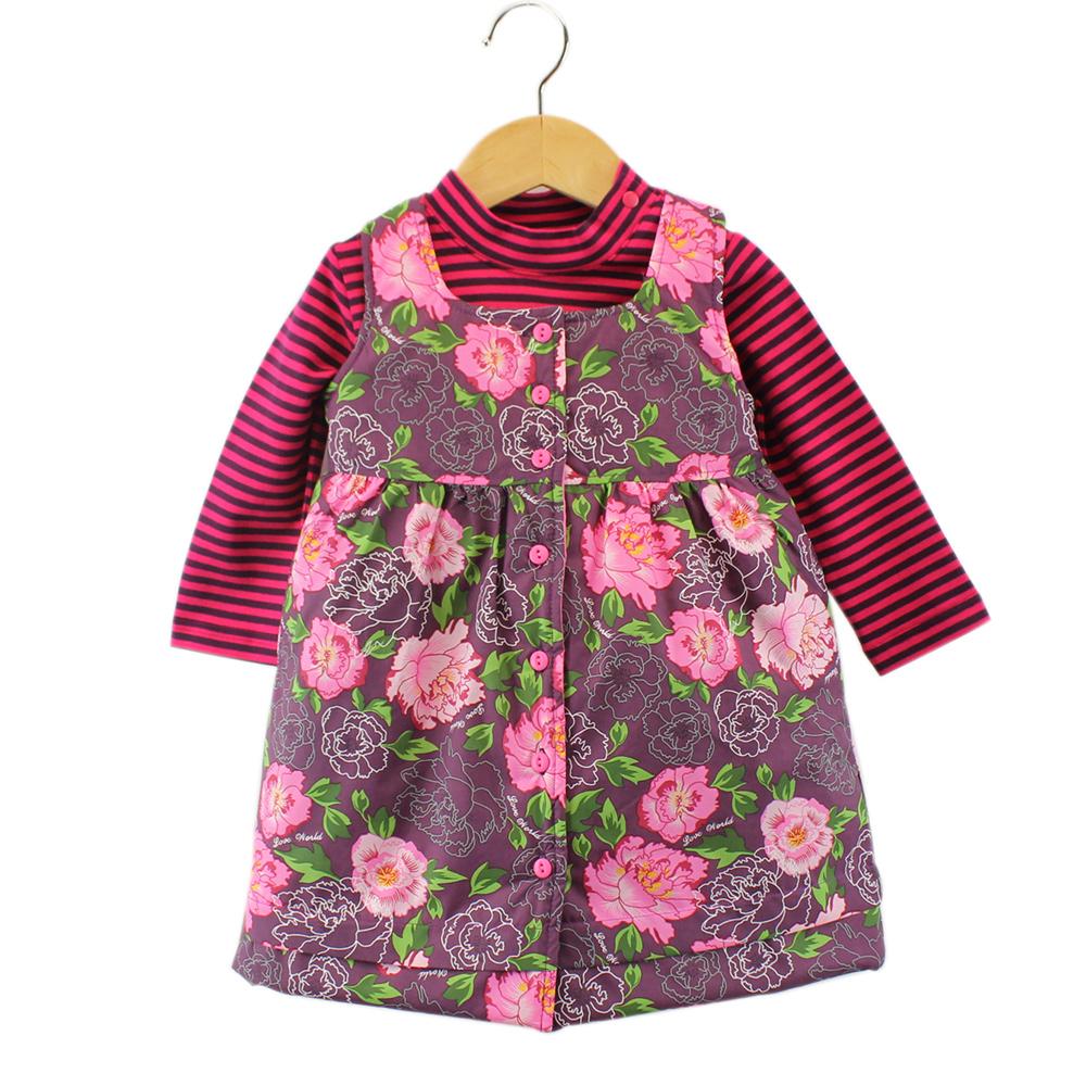 愛的世界 牡丹花長袖背心裙套裝 4~6歲