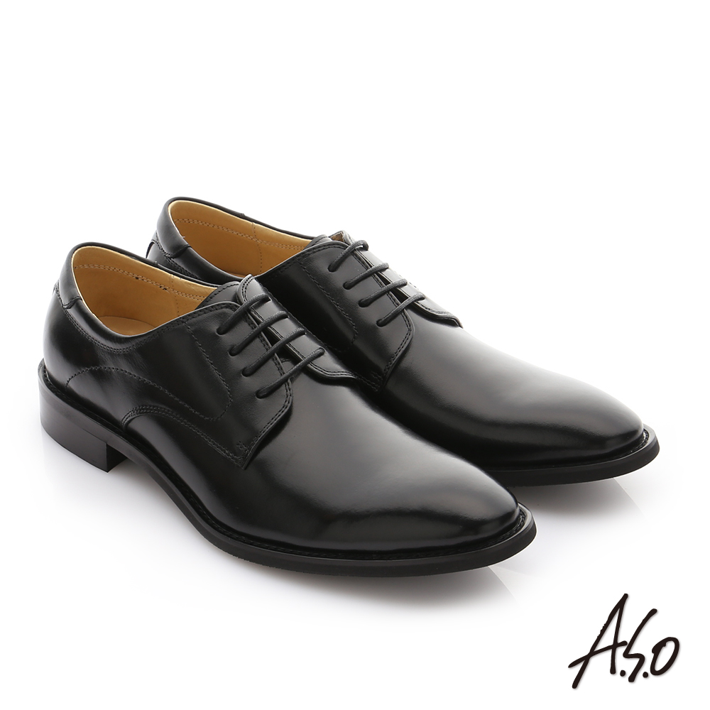 A.S.O 職人通勤 經典素面尖頭德比紳士鞋 黑色