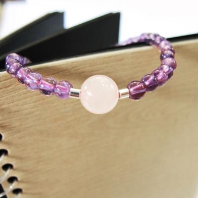 Hera 925純銀手作圓舞曲天然紫水晶+粉晶手鍊