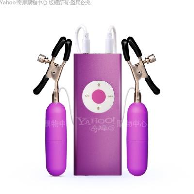 悅動 USB充電 mp3造型金屬材質20段變頻 雙孔 乳夾刺激器 紫色