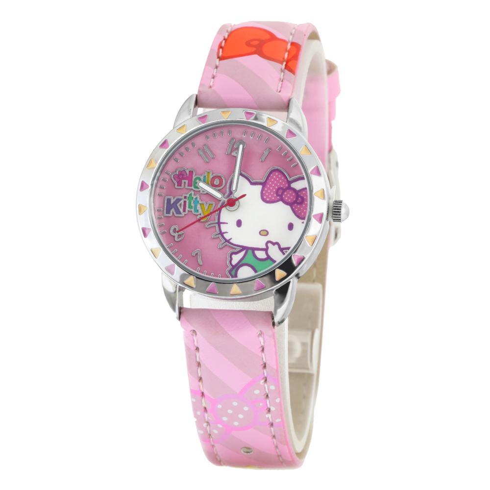 Hello Kitty 繽紛蝴蝶結俏麗腕錶-粉紅/28mm
