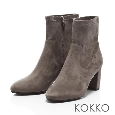 KOKKO- 時髦顯瘦彈力拉鍊粗跟襪靴-中性灰