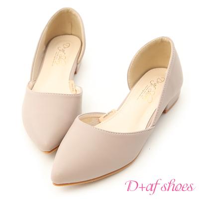 D+AF 粉彩繽紛.素面側挖空尖頭鞋*紫