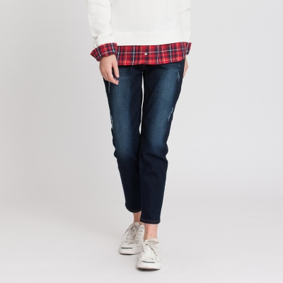 Hang-Ten-女裝-經典刷色男友牛仔褲-藍