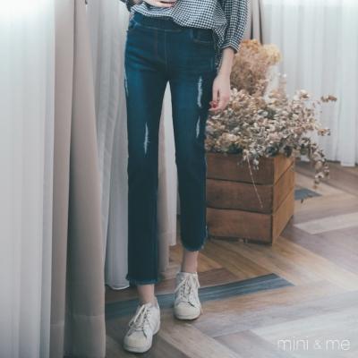 ✈正韓空運 刮破抽鬚窄管八分牛仔褲 深藍色-mini&me