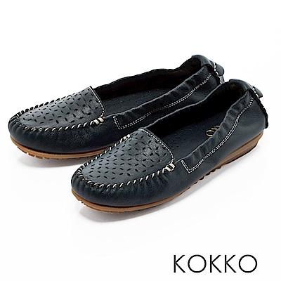 KOKKO -舒適彈力鏤空雕花牛皮休閒平底鞋- 紳士藍