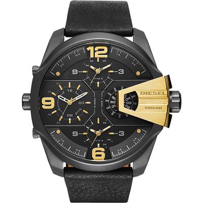 DIESEL 銀河遊俠四時區腕錶-金字黑x皮帶/55mm