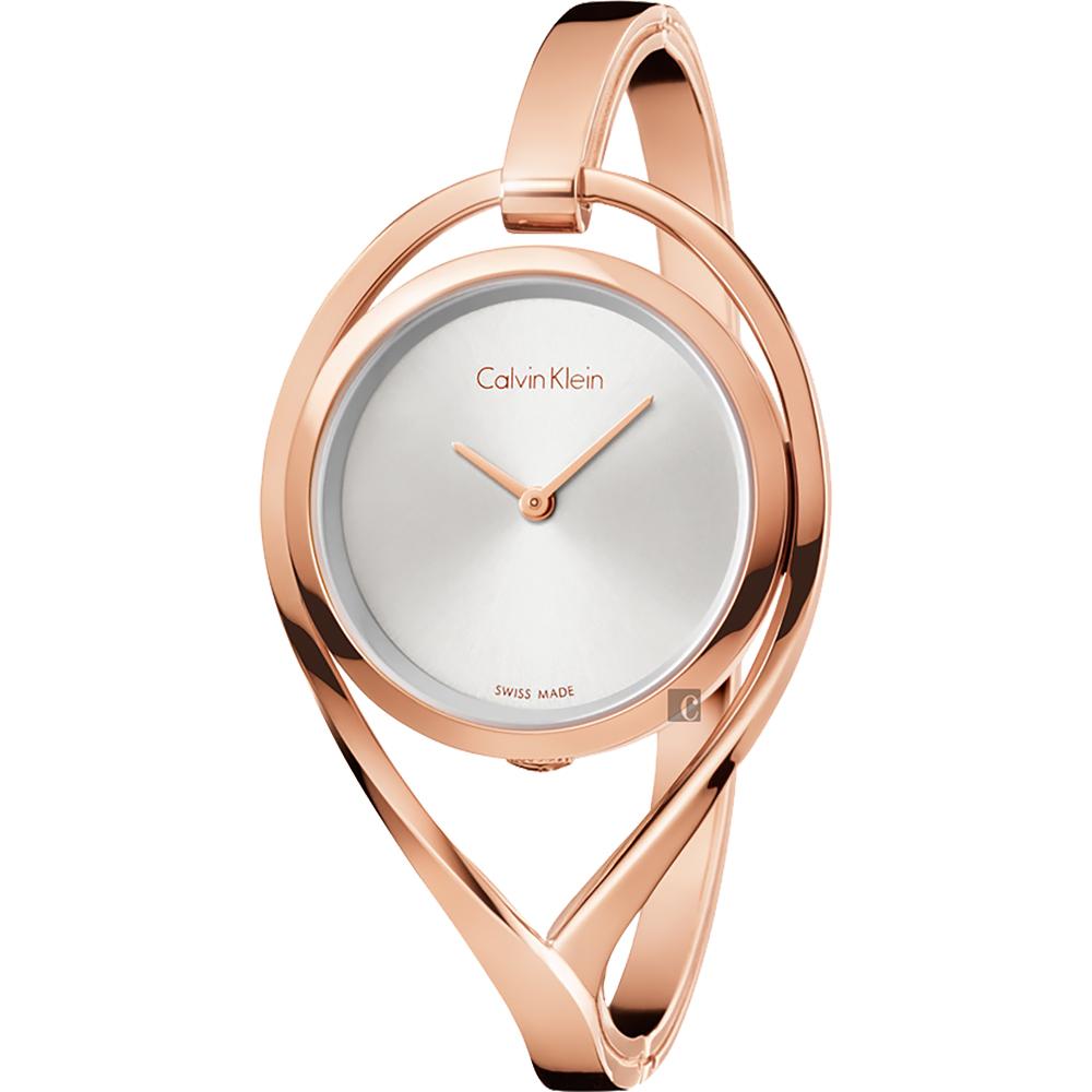 Calvin Klein CK Light 輕時尚手鐲女錶-M手圍/銀白x玫瑰金
