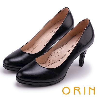 ORIN 展現時尚魅力 質感素面牛皮高跟鞋-黑色