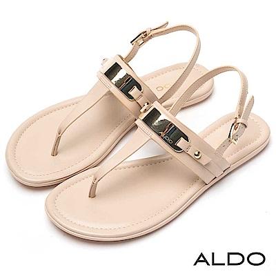 ALDO 原色T字穿帶圓角金屬拉帶式平底涼鞋~氣質裸色