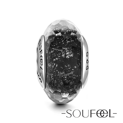 SOUFEEL索菲爾 925純銀珠飾 黑色冰晶 琉璃珠