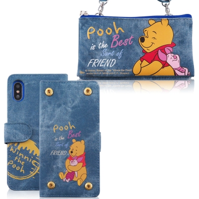 Disney迪士尼iPhone X 牛仔彩繪零錢包保護殼套組(活動可拆式)_維尼...