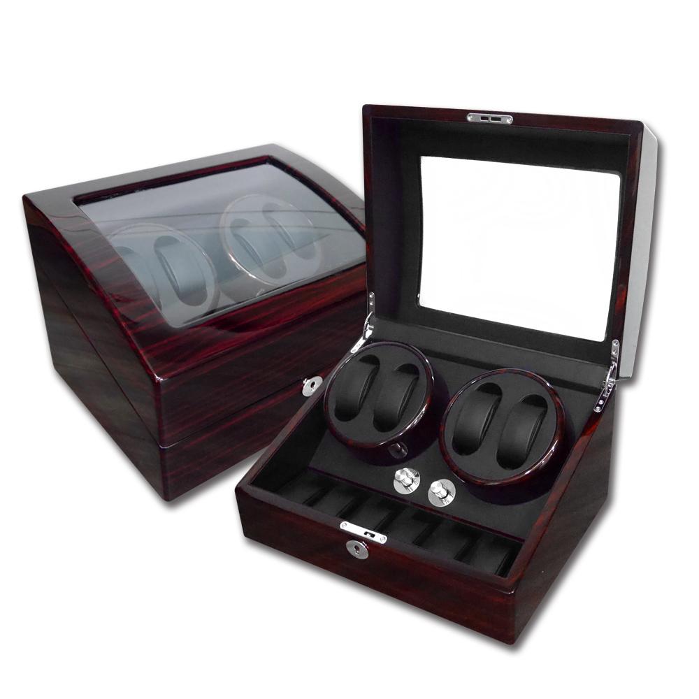 機械錶自動上鍊收藏盒 2旋4入錶座轉動+6入收藏 鋼琴烤漆 - 木紋紅褐色