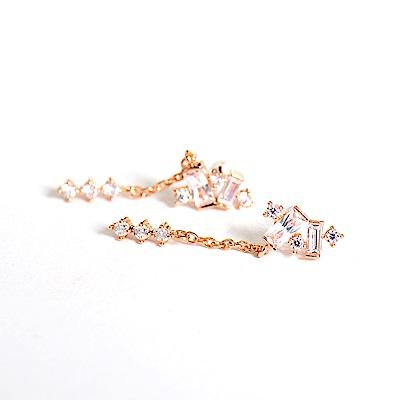 微醺禮物 正韓 925銀針 鍍K金 方鋯圓鋯排列 小垂墜 細鍊 三顆小圓鋯 耳針 耳環