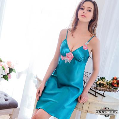 大尺碼Annabery華麗花朵寶藍緞面睡衣 藍L-2L Annabery