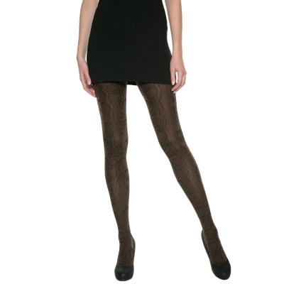 法國DIM-MOD「時尚」系列古典蟒紋造型褲襪-012X 黑咖