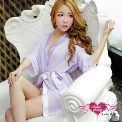 罩衫 柔粉誘惑 柔紗性感外罩式連身睡衣(紫F) AngelHoney天使霓裳