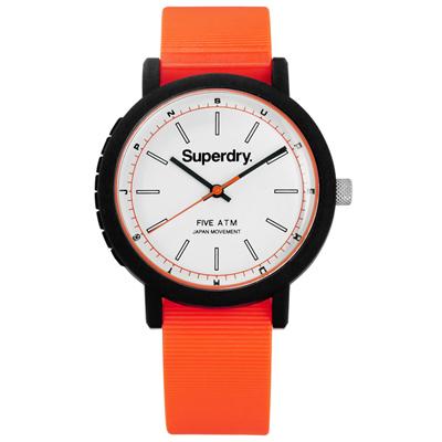 Superdry 運動風采舒適橡膠手錶 -白x黑框x橘/38mm