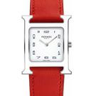 HERMES H-OUR經典H中型白框款時尚腕錶橘色錶帶26x26mm