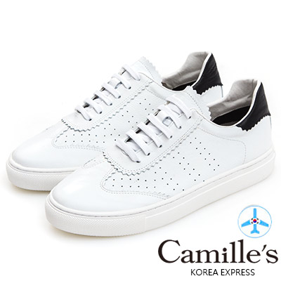 Camille's 韓國空運-正韓製-牛皮牛津雕花綁帶休閒鞋-白色