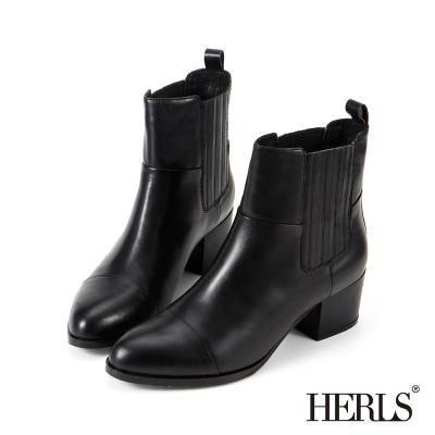 HERLS-時尚簡約-真皮兩側鬆緊粗跟短靴-黑色
