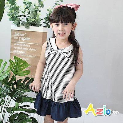 Azio Kids 童裝-洋裝 花邊蝴蝶結條紋背心洋裝(深藍)