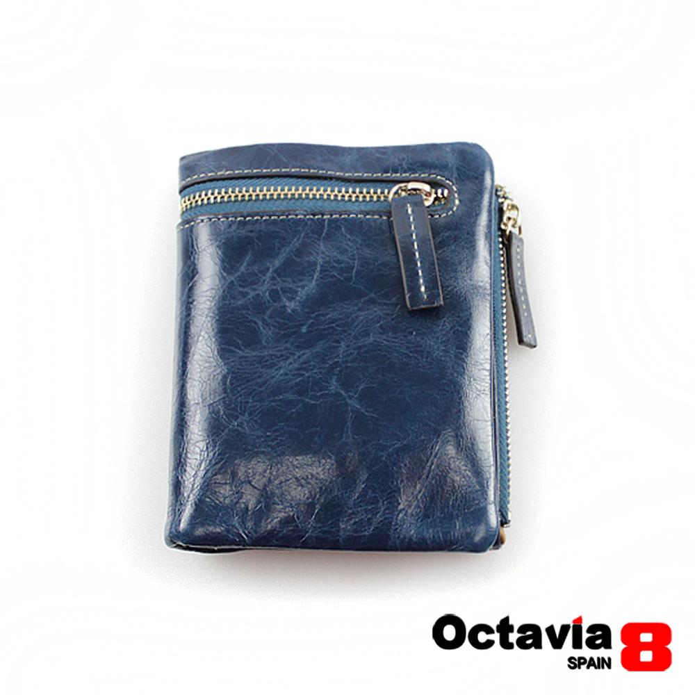 OCTAVIA 8 真皮 - 哲學家 二折式油蠟皮短夾 - 憂藍