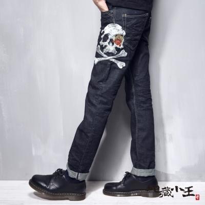 地藏小王 BLUE WAY 地藏骷髏精繡低腰直筒褲