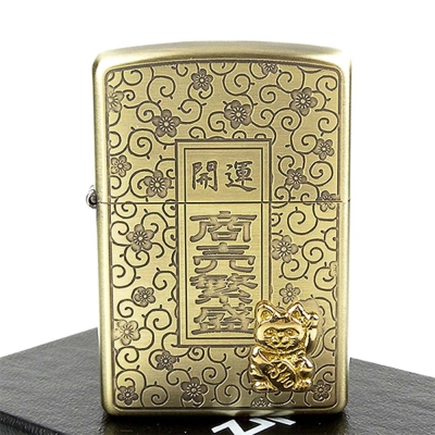 【ZIPPO】日系~開運-商賣繁盛-招財貓貼飾蝕刻加工打火機