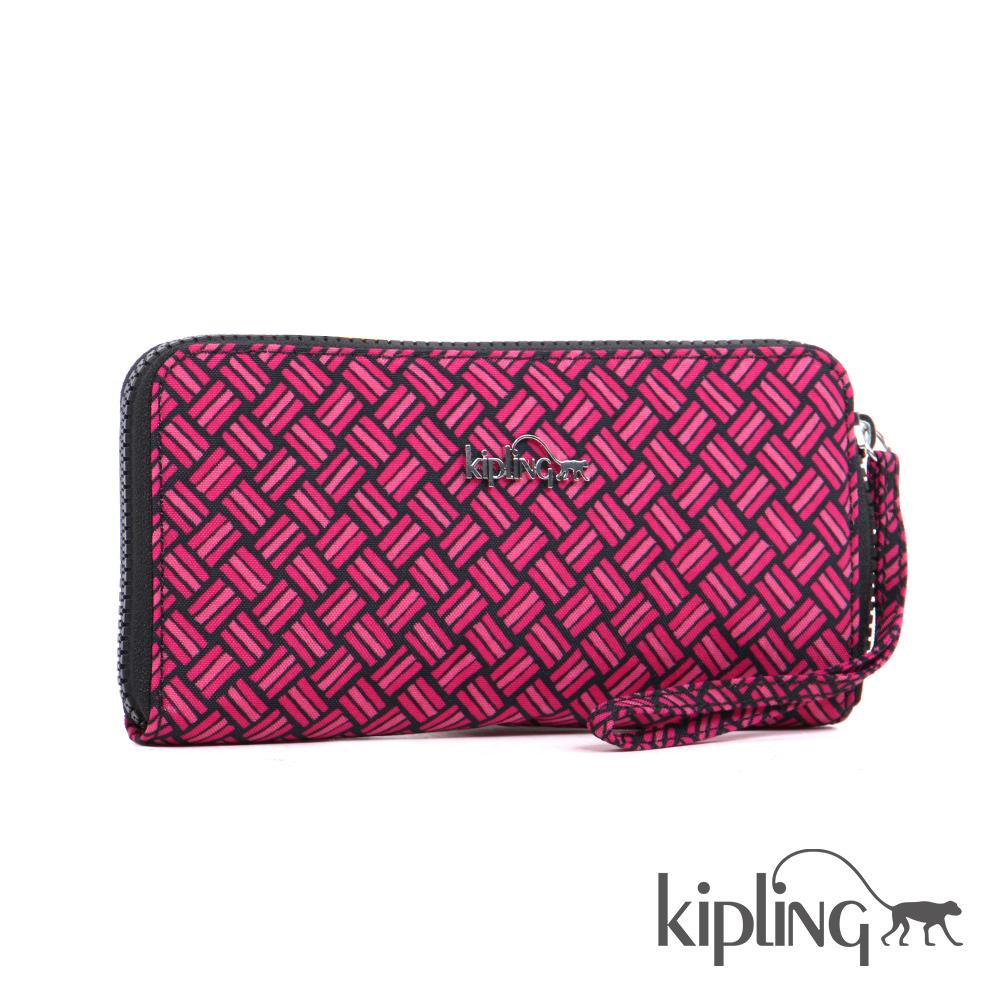 Kipling 長夾 紅色編織菱紋