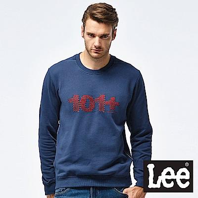 Lee 101+刺繡圓領厚TEE-男款-灰藍