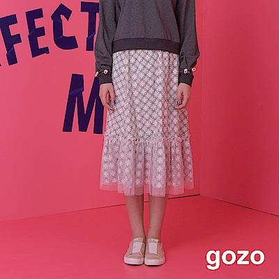 gozo-立體幾何圖形網紗長裙-二色