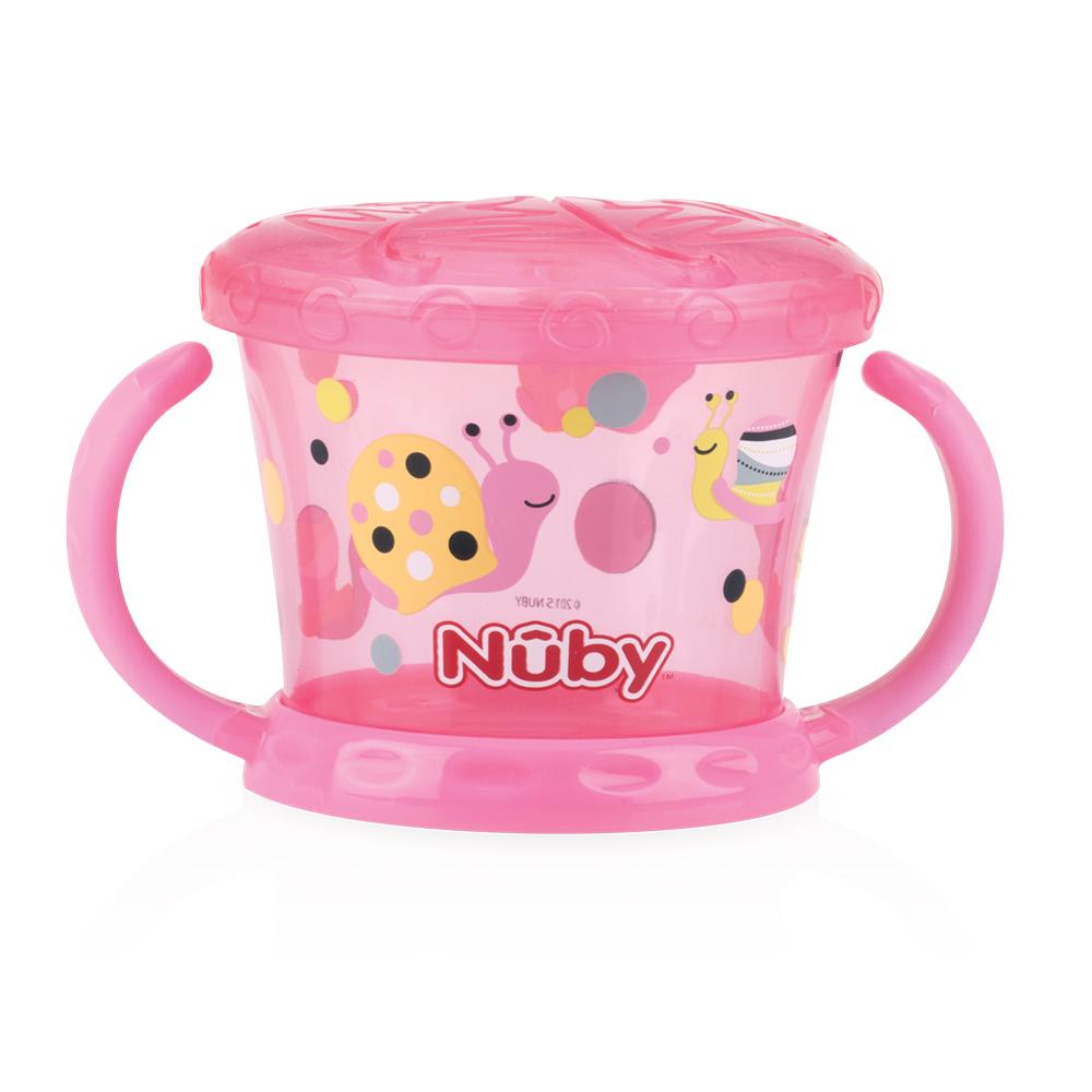 Nuby 防漏零食盒-粉紅(幾何)(12M+)