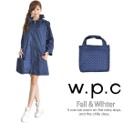 【w.p.c.】2 way袖子可折。時尚雨衣/風衣(R9001)_深藍點點