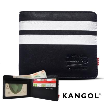 KANGOL 韓式潮流 多夾層橫式短皮夾+鑰匙圈禮盒-條紋黑