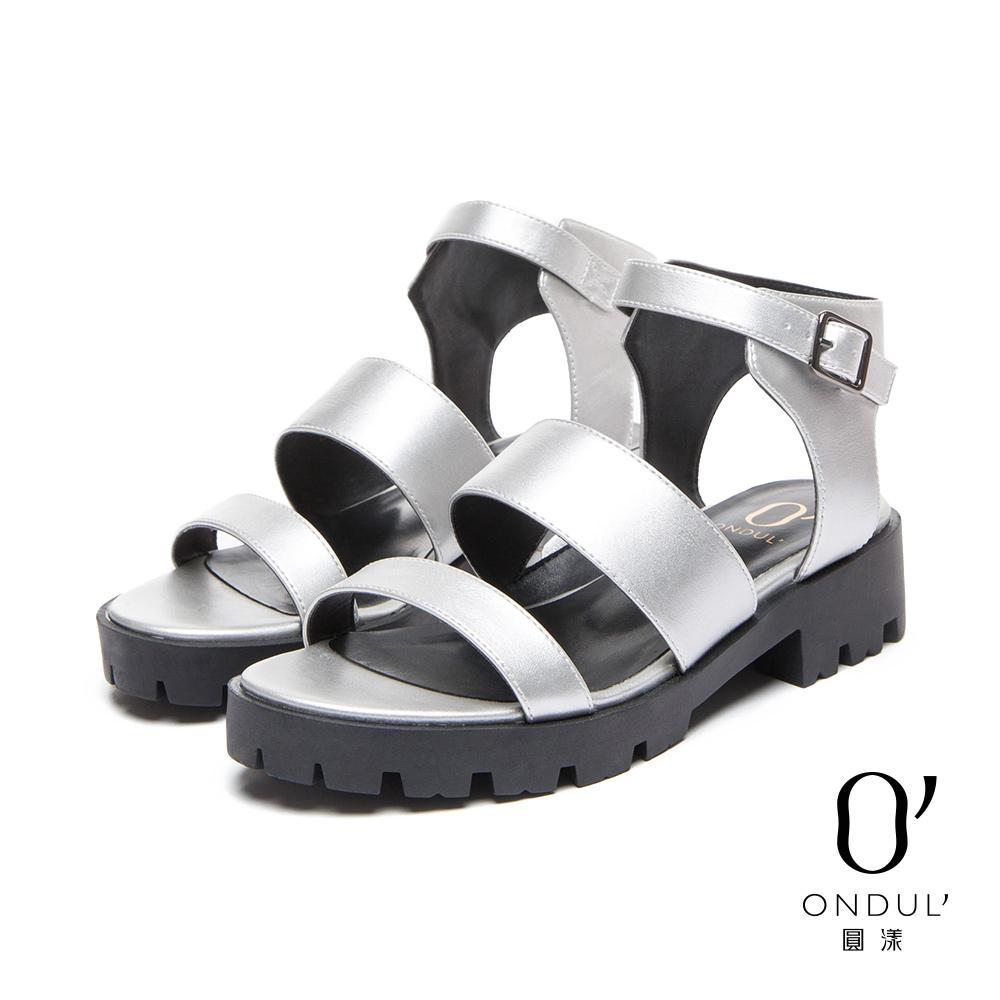 達芙妮DAPHNE 圓漾系列 涼鞋-鋸齒底羅馬扣踝涼鞋-銀8H