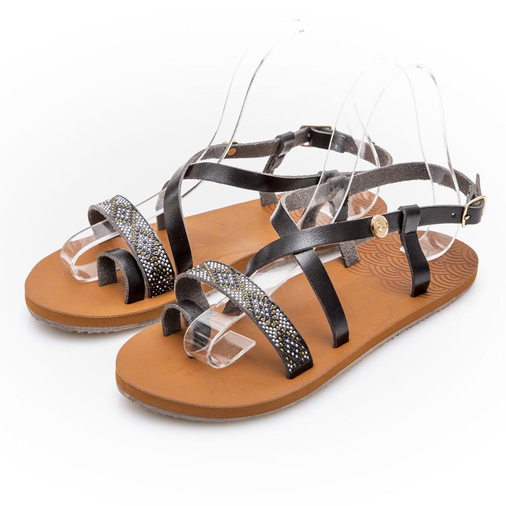 JMS-悠閒度假一字交叉帶夾腳平底涼鞋-黑色