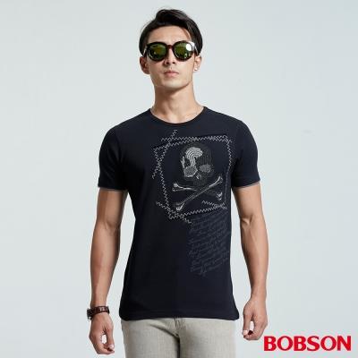 BOBSON 男款骷魯頭貼鋁片上衣