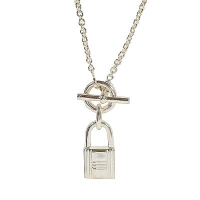HERMES KELLY鎖頭造型純銀項鍊