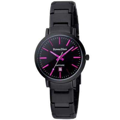 Roven Dino羅梵迪諾 色彩抉擇時尚日期腕錶-黑x桃紫時標/30mm