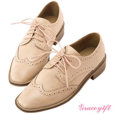 Grace gift-彈性減壓雕花方頭牛津鞋 粉