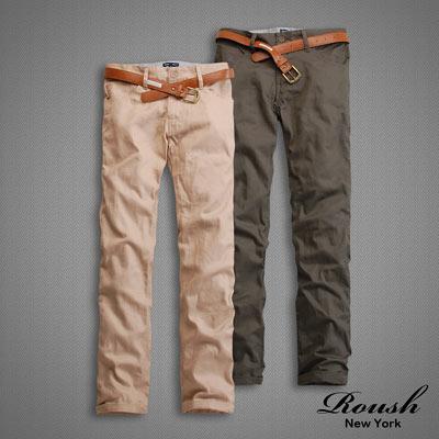 【 Roush 】韓版時裝休閒直筒褲(附皮帶) (5色)