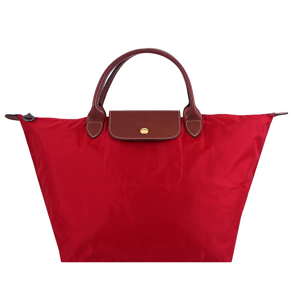 Longchamp紅色短帶折疊水餃包(中)LONGCHAMP