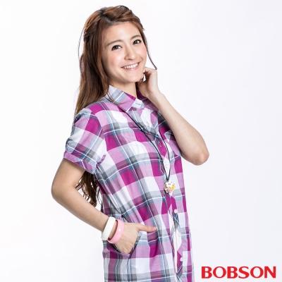 BOBSON-女款側口袋短袖襯衫