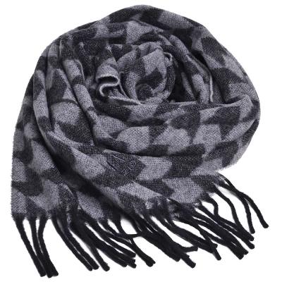 ARMANI COLLEZIONI 字母LOGO刺繡千鳥紋圖騰喀什米爾混羊毛圍巾(黑/灰)