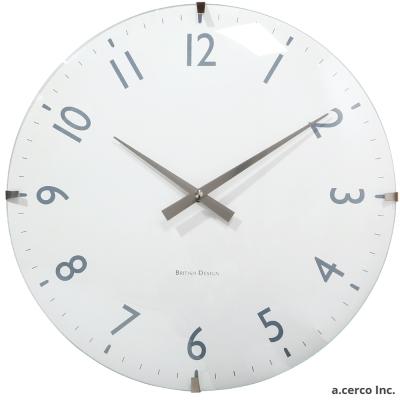 a.cerco British 木紋 設計時鐘-白色 (40cm)